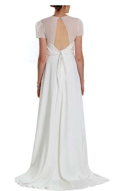 Phoebe 1940s vintage wedding dress with knot detail sheer for 40s style wedding dress
