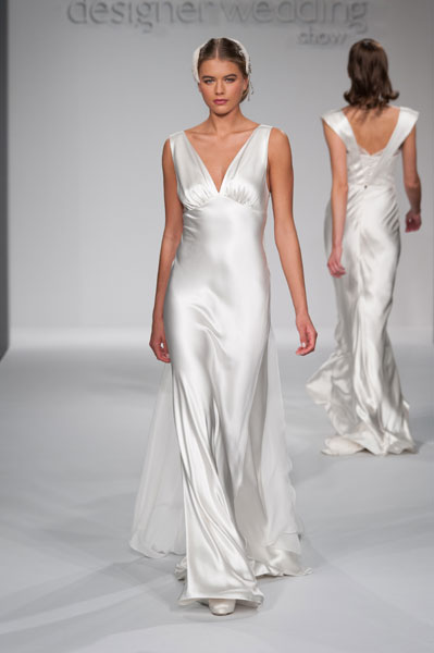 London wedding dress designer Astral Sundholm at designer wedding fair