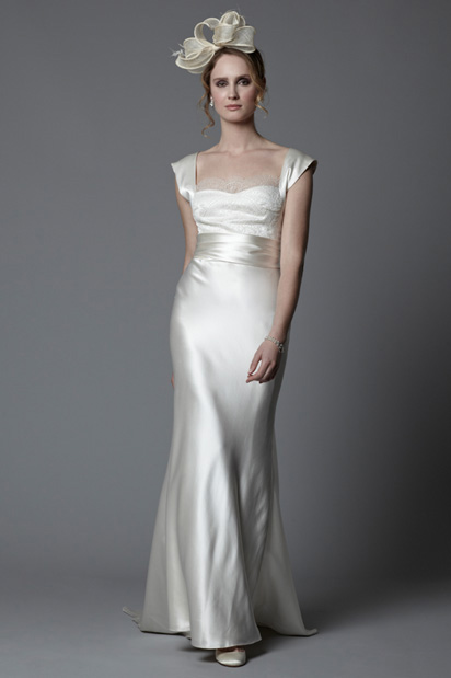 Eddie 1920 s vintage inspired style silk satin bias cut for Vintage 20s wedding dresses