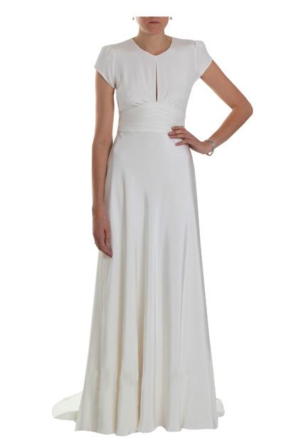 Honey 1940s Vintage Silk Crepe Cap Sleeved Wedding Dress